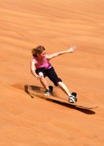lady sand boarding